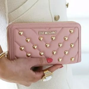 LOVE MOSCHINO Quilted Heart Studded Zip Wallet